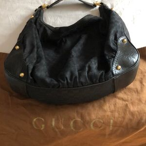 Gucci monogram large jockey hobo bag